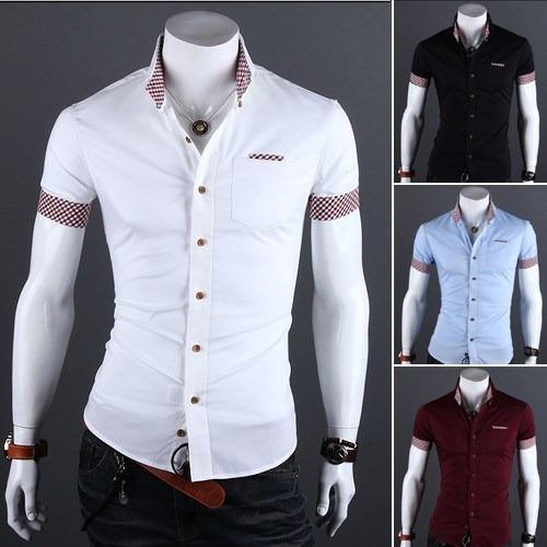 e6474d068d Camisa Social Masculina Modelo Slim Fit - Manga Curta - R$ 49,99 em Mercado  Livre