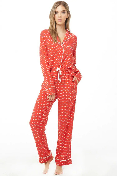 Forever 21 Pijama 2 Pz Pantalon Blusa Rojo Puntitos Tallas