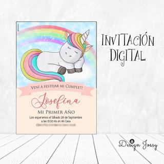 Invitaciones Digitales Personalizadas Whatsapp Unicornio