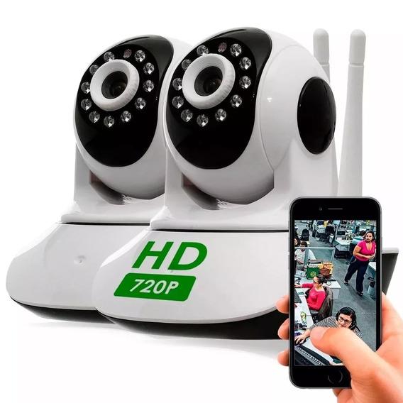 Kit 2 Câmera Segurança Ip Hd 720 Sem Fio Wifi P2p Áudio