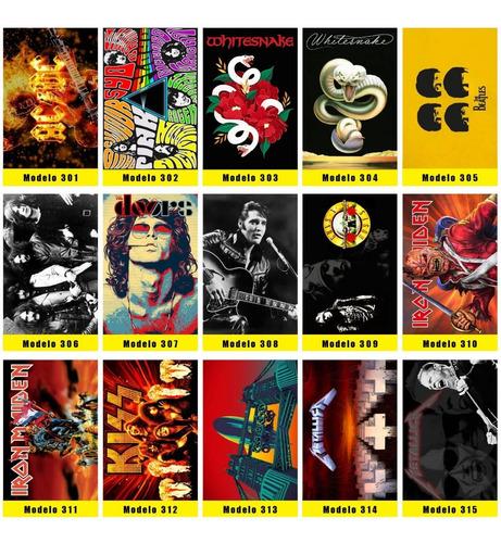 Kit 10 Placas Decorativas Show E Poster De Bandas De Rock
