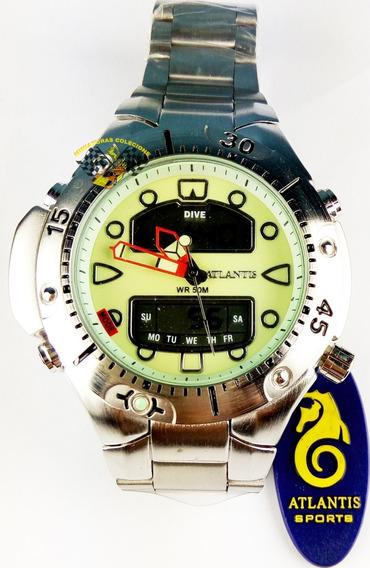 Relógio Masc Atlantis G3154 Aqualand 1060 Fundo Verde Peq.