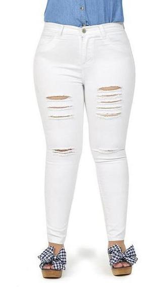 Pantalón Roto Color Blanco Para Dama Mundo Terra 019519