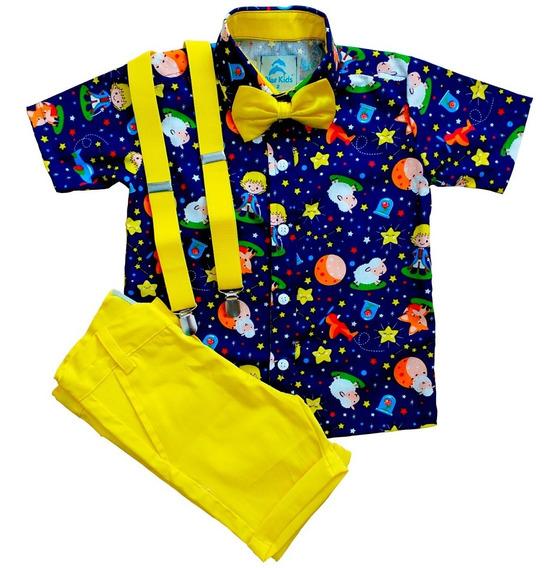 Conjunto Roupa De Festa Aniversário Infantil Menino Camisa Social Pequeno Principe Bermuda Gravata Suspensório