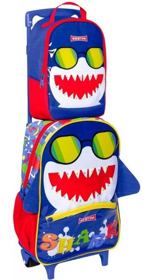Kit Mochila Infantil Escolar Baby Shark De Rodinha Sestini