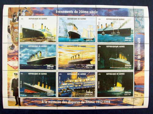 Tema Barcos - Guinea Bloque Titanic 9 Sellos 1998 Mint L2347