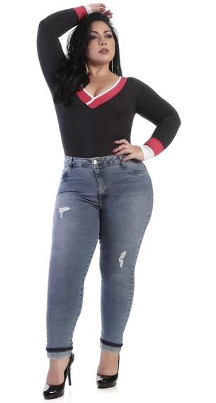 Calça Jeans Feminina Sawary Plus Size Rasgada - 259633