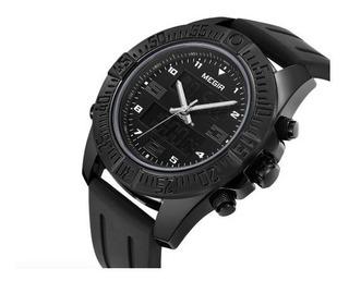 Reloj Megir 2038 Negro Deportivo Cronógrafo Caja Fecha Led