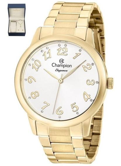 Relógio Champion Feminino Dourado + Colar E Brincos Cn26000w
