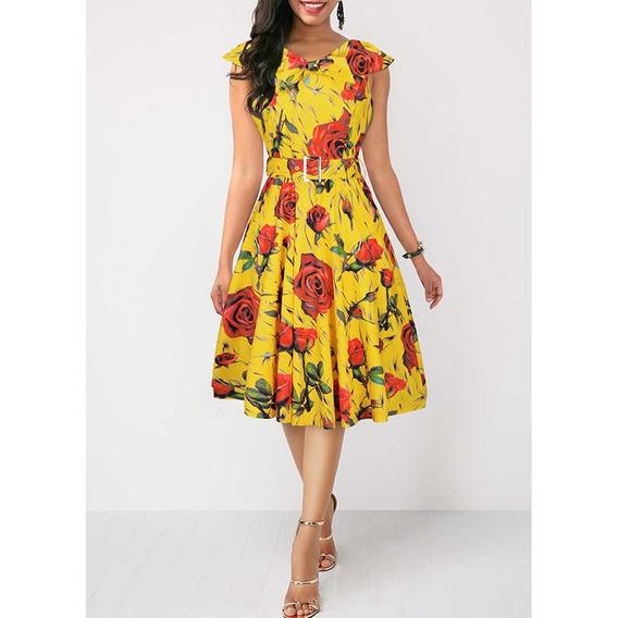 Vestido De Verano Elegante Con Estampado De Rosas