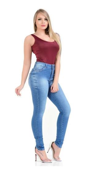 Calças Femininas Jeans Cintura Alta Média Hot Pants Lycra 3%