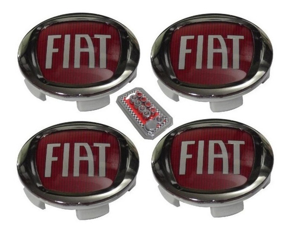 Jg Calota Miolo Centro Roda Fiat Toro 60mm + Kit Anti-furto