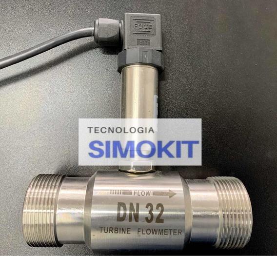 Kit Medidor Sensor Fluxo Vazão Aço Inox Dn32mm+ Controlador