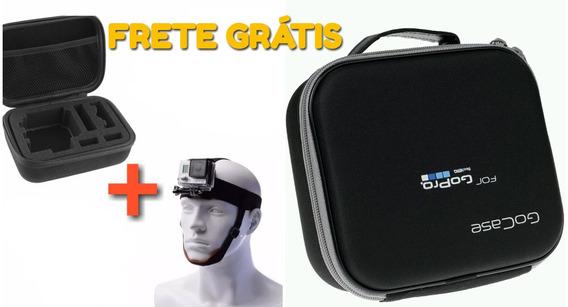 Kit Case E Suporte De Cabeça Gopro Hero 6 5 4 + 3 Sj4000 Sjc