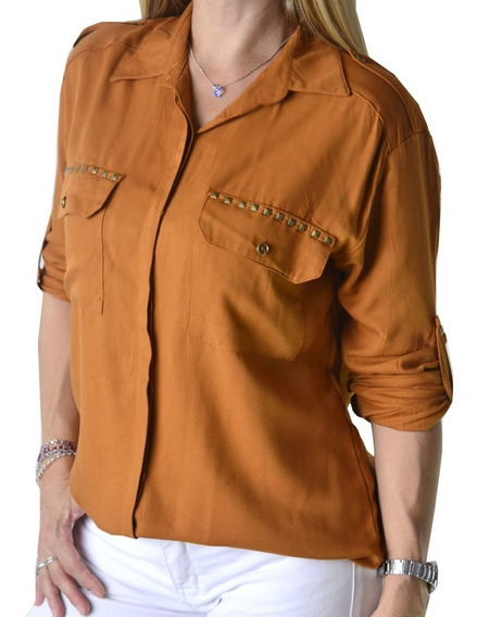 Camisa Con Tachas Verde Militar Marron Mujer The Big Shop
