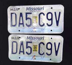 Par De Placas Originais Carro Estados Unidos Missouri