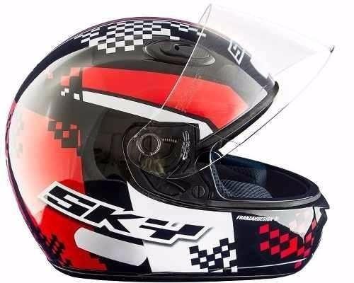 Capacete Motosky Race Flag - Vermelho 58 - Vis. Transparente