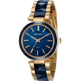 Relógio Seculus Feminino Dourado Azul Original 20596lpsvdq1