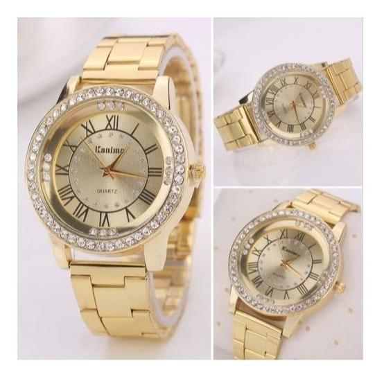 Relógio Feminino Luxo Pulseira Aço Inox- K-02