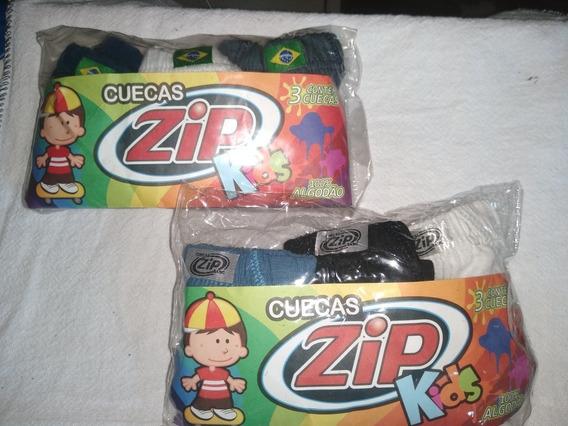 2 Kits Cuecas Infantil C/ 6 Cuecas 1 Tamanho P, 1 Gg Algodão
