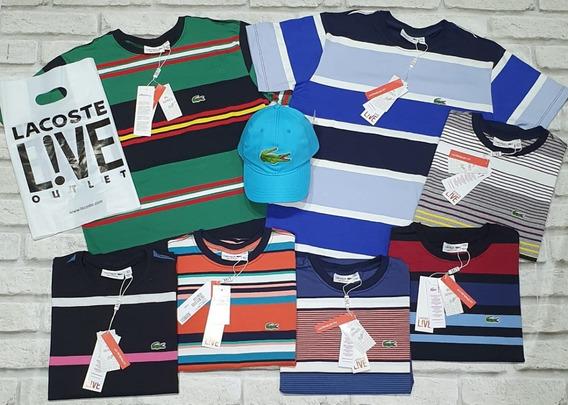 Kit C/10 Camiseta Lacoste Listrada Malha Peruana, Envio Hj