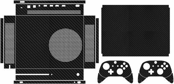 Skin Para Xbox One S (slim) Completo Fibra De Carbono Preta