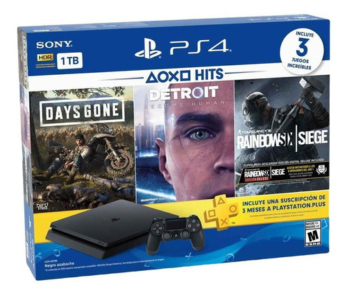Consola Ps4 Sony Playstation 4 1tb + 3 Juegos