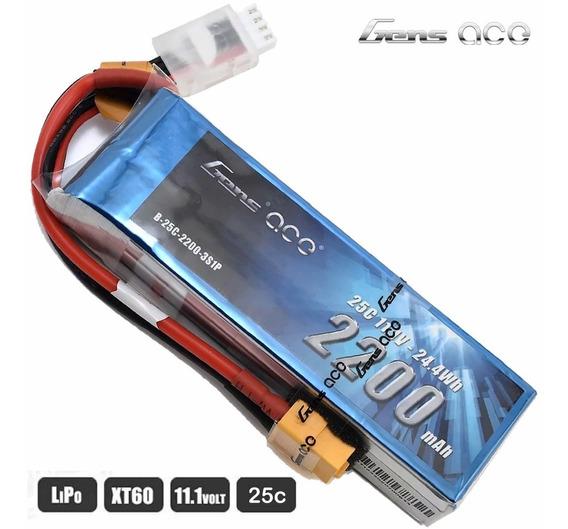 Bateria Gens Ace Lipo 11.1v 2200mah 25c Xt60 P/ Aero Drone
