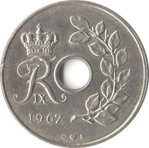 Dinamarca 25 Ore 1967 - Espigas - Frederik Ix - Km#855.1