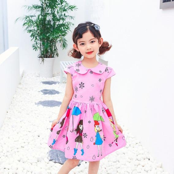 Vestido Infantil Estampado C Laço 4 6 8 10 12 Anos Rosa Azul
