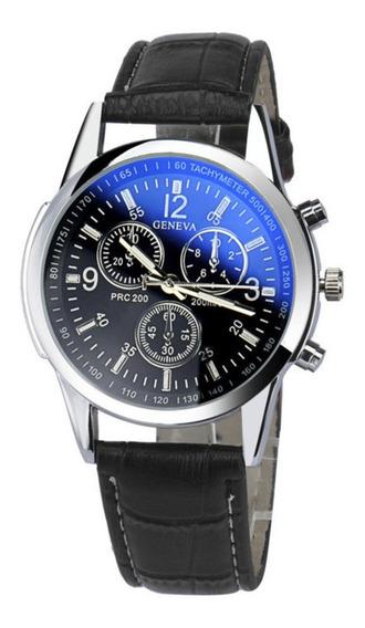 Relógio Social Masculino Pulseira De Couro Geneva Original Barato Promoção