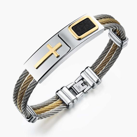 Pulseira Bracelete Masculina Aco Inox Banhada Ouro 18k Mod62