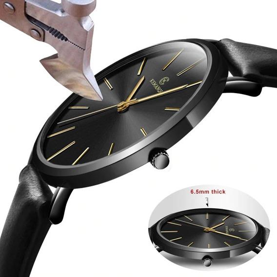 Relógio Masculino Ultra Fino Luxo Kemanqi (fundo Preto)