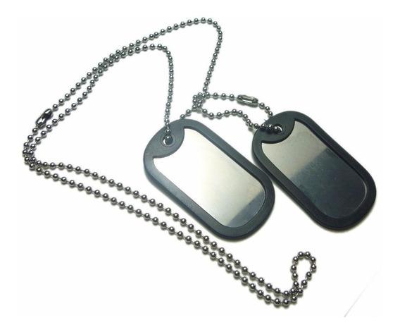 Kit 2 Correntes Placa Identificação Militar Aço Inox