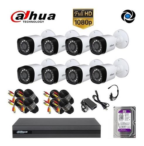 Kit Seguridad Dahua Cctv Dvr 8ch  + 8 Camara 2mp 1080p+disco