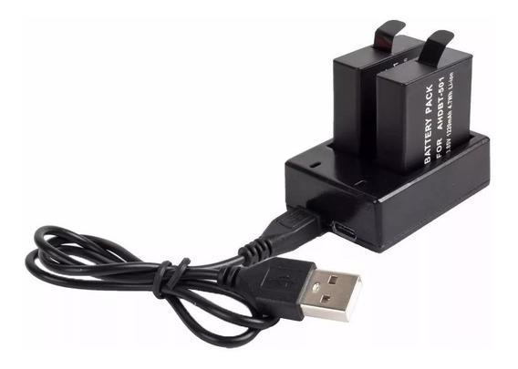 Kit Carregador Duplo Bateria Camera Gopro Hero 5 6 Baterias