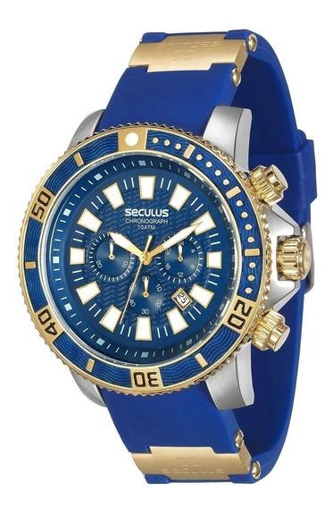 Relógio Masculino Cronógrafo Seculus 20274gpsvbu2 - Azul