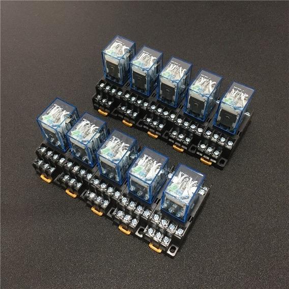 Relê Com Base 24vdc 4 Contato 14 Pinos (10 Unidade) Com Nf-e