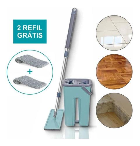 Rodo Mop Flat E Balde Para Limpeza De Piso + 1 Refil Brinde