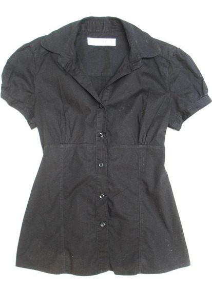 Camisa Manga Corta Mujer Negra Usada Talle S