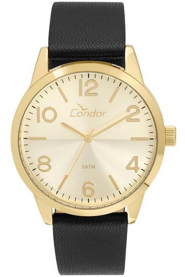 Relógio Condor Masculino Casual Couro Dourado - Co2035kvd/2d