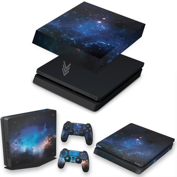 Kit Capa E Skin Ps4 Slim Playstation 4 Universo Cosmos