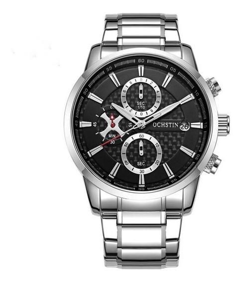 Relógio Masculino Ochstin Gq085 Cronógrafo Em Aço Prata