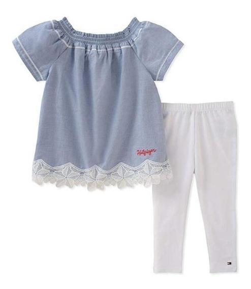 Tommy Hilfiger Juego Niña 5 Años Blusa Pantalon Blanco