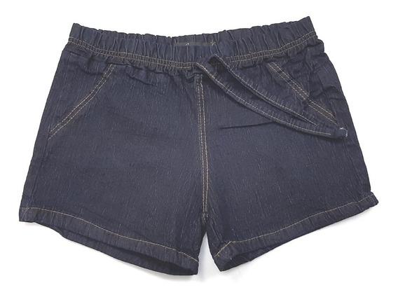 Short Jeans Feminino Verão Cintura Elástico E Cordão