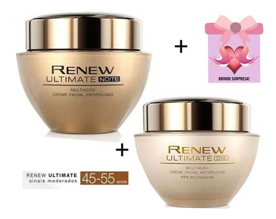 Renew Ultimate Dia Fps 25 + Noite Creme Facial Avon + Brinde
