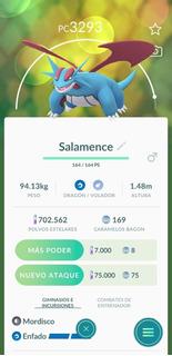 Salamence Legacy Pokemon Go Por Intercambio +3000pc