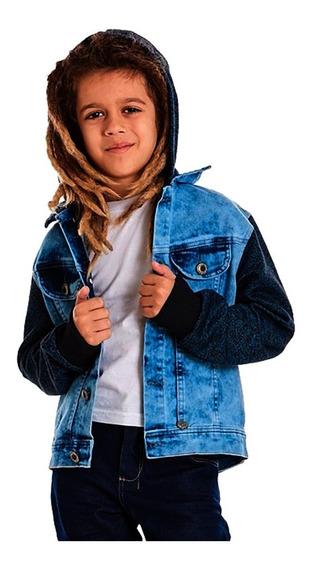 Jaqueta Jeans Masculina Capuz Manga Moletom Tam 06 E 08