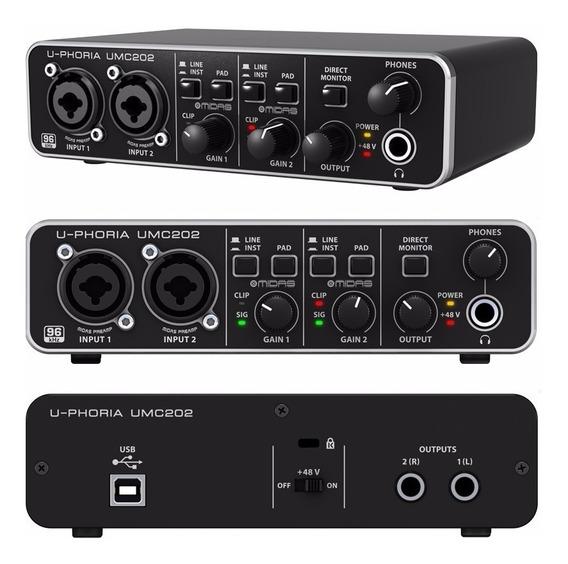 Behringer Umc202hd Interfaz De Audio 2x2 24 Bits Envio Full