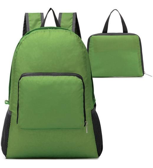 Mochila Plegable Impermeable De Viaje Verde M2980
